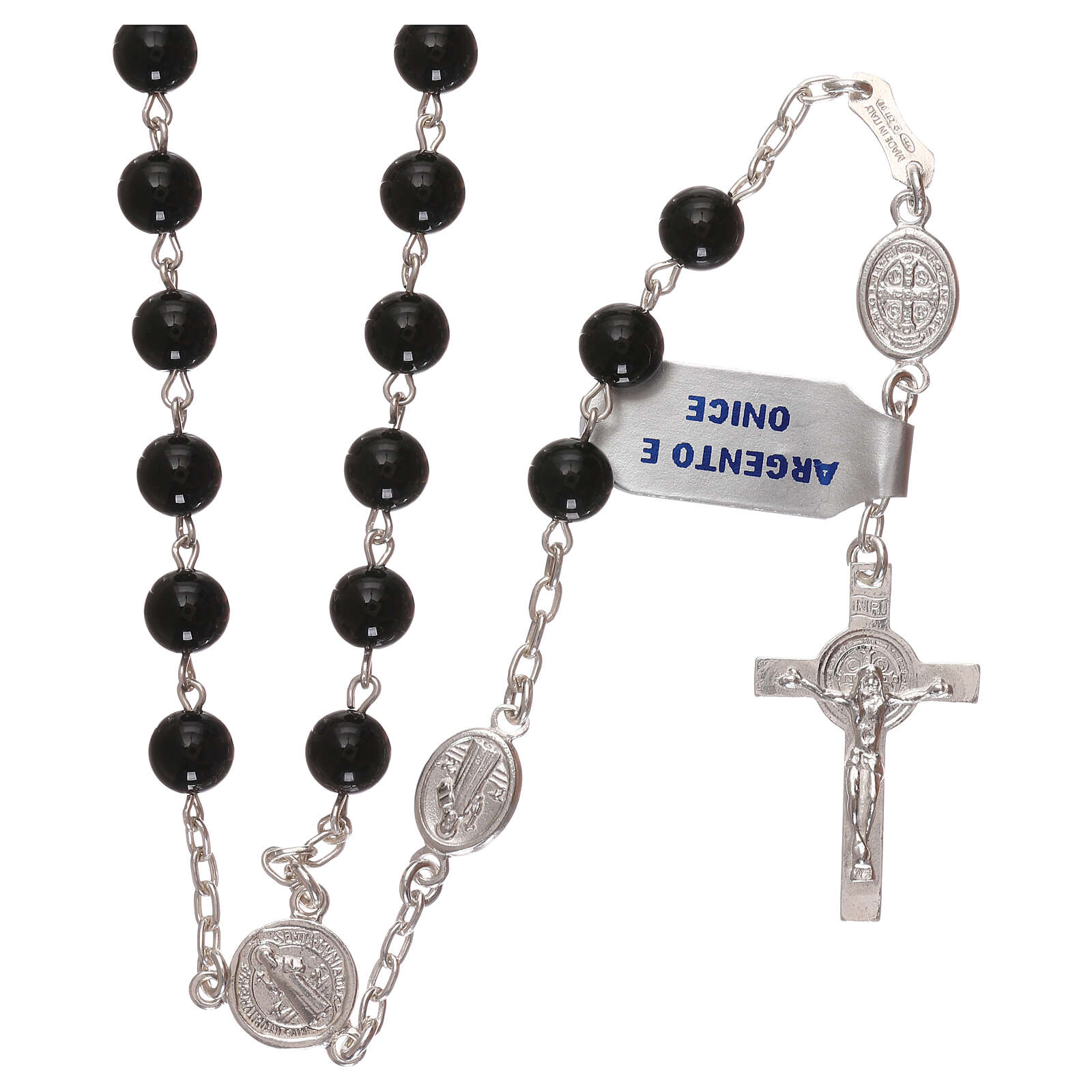 Saint Benedict rosary 925 silver and onyx 4