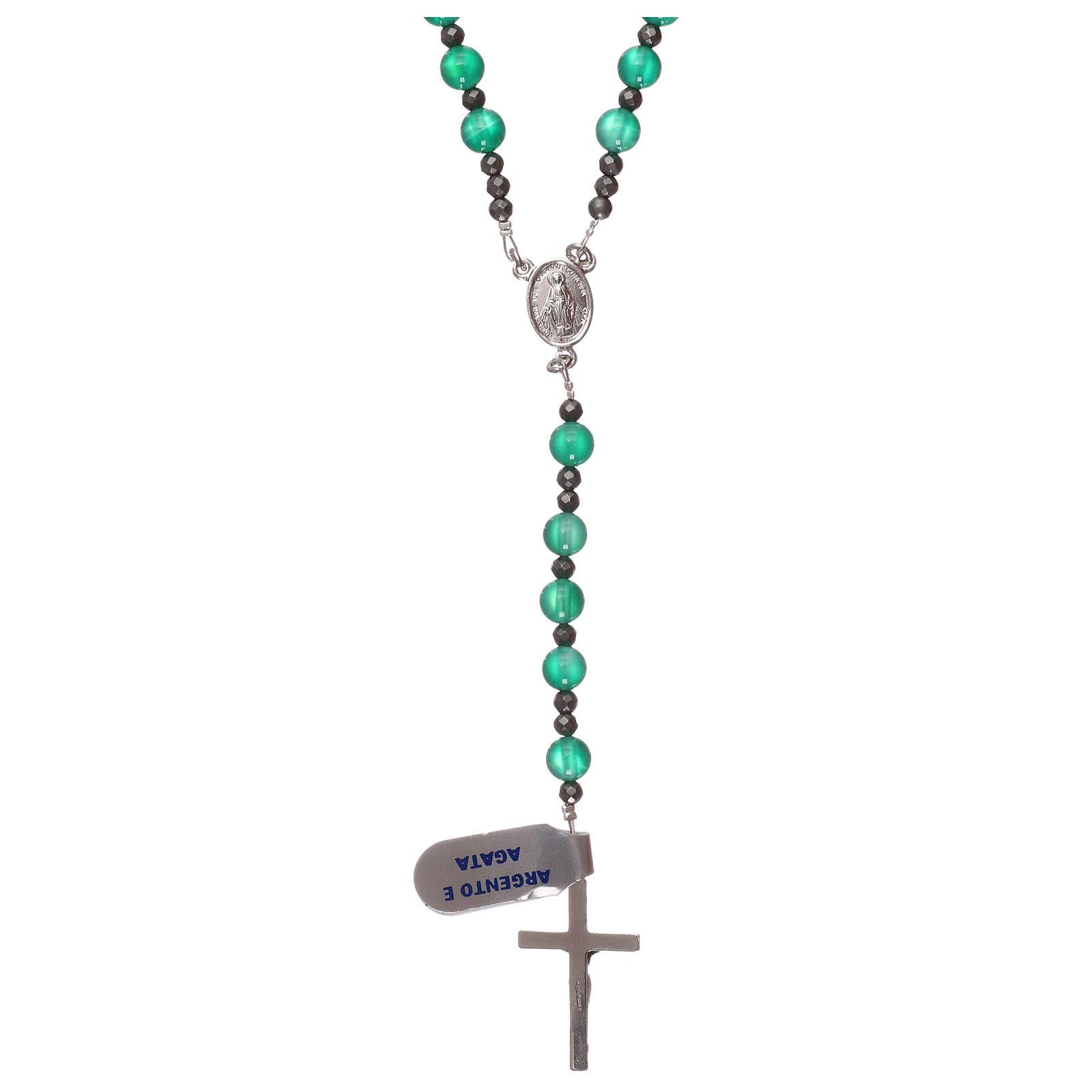 Rosario argento 925 e agata verde 4