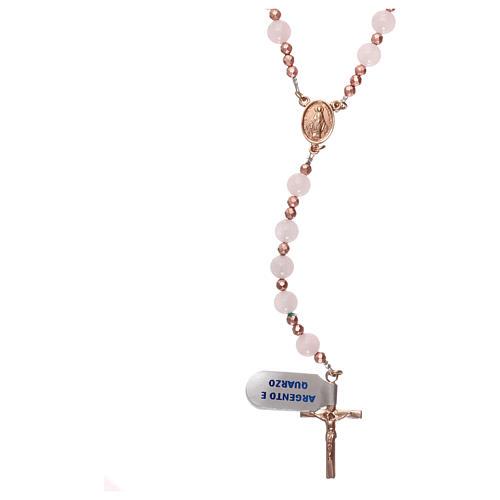 Rosaro plata 925 rosada y cuarzo rosa 1