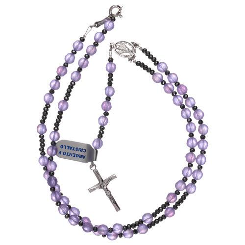 Rosario cristallo satinato lilla e argento 925 4