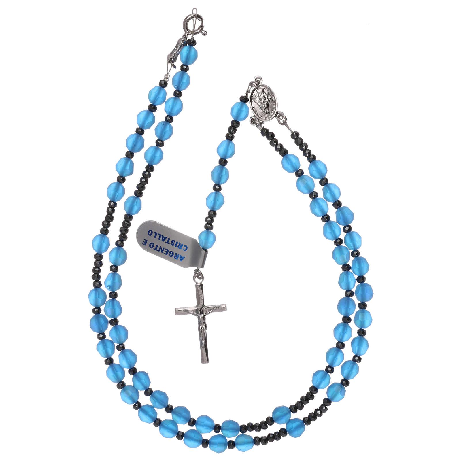 Rosario croce argento 925 e grani cristallo satinato blu 4