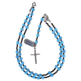 Rosario croce argento 925 e grani cristallo satinato blu s4