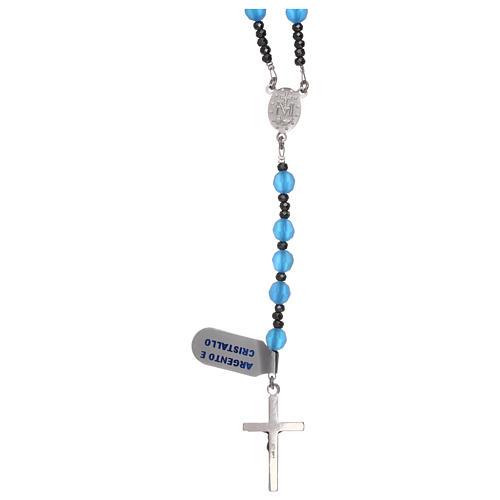 Rosario croce argento 925 e grani cristallo satinato blu 2