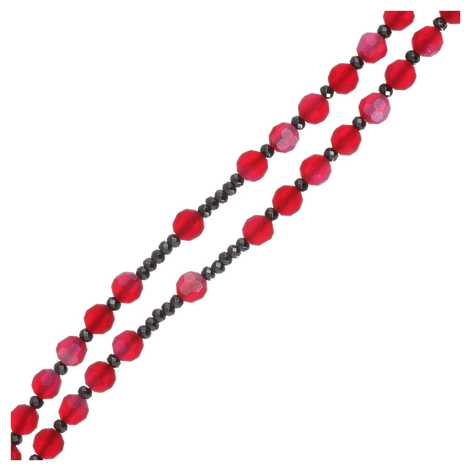 Rosario cristallo satinato rosso e argento 925 4