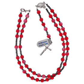 Rosario cristallo satinato rosso e argento 925 s4