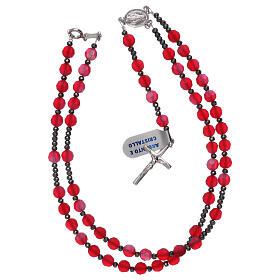 Terço cristal acetinado vermelho e prata 925 s4