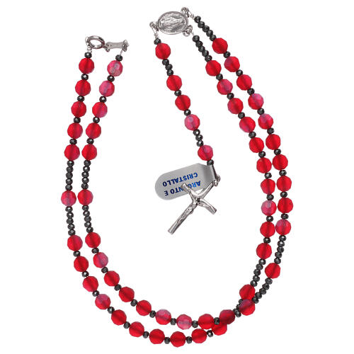 Crystal rosary satin-finished red beads and 925 silver 4