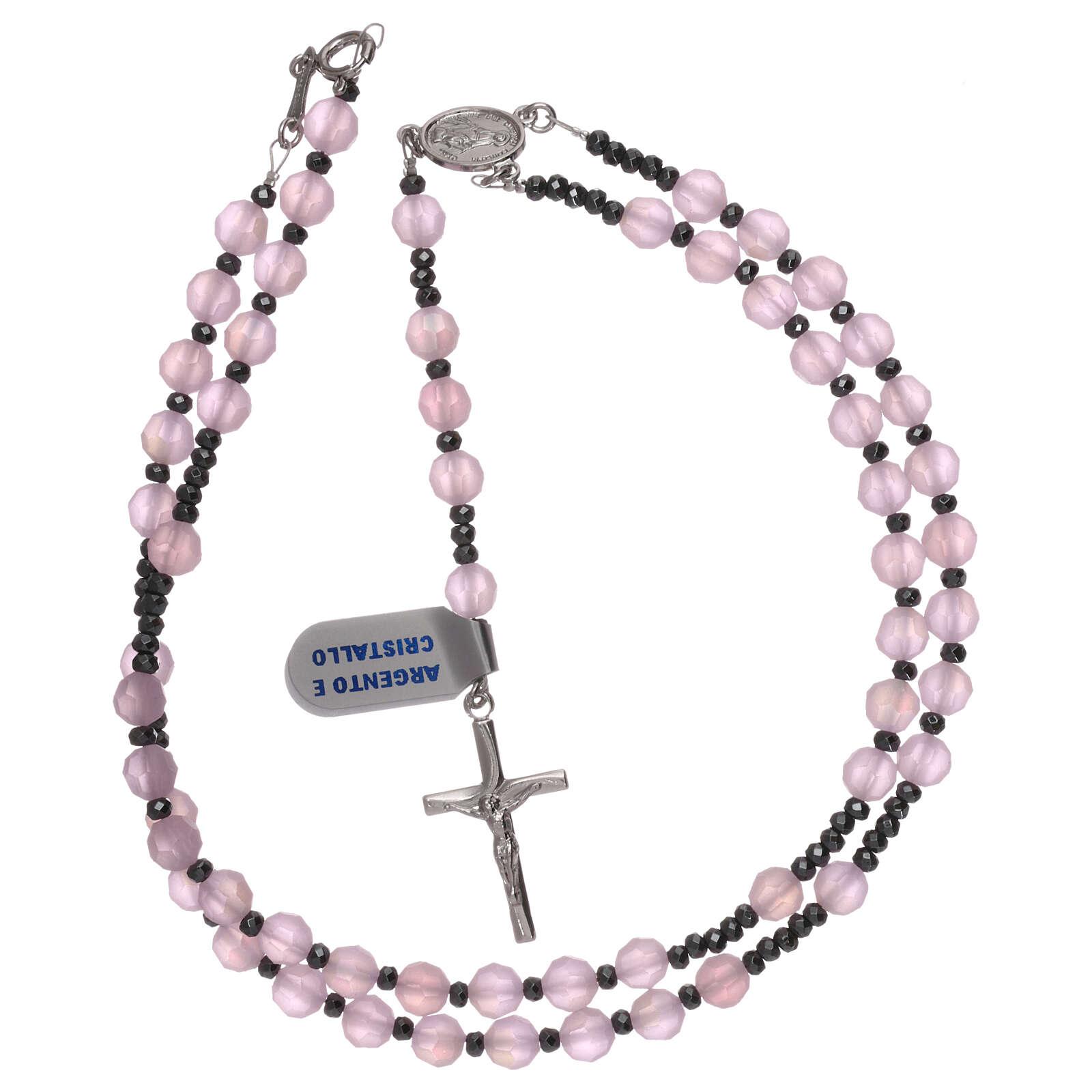 Terço prata 925 e cristal acetinado cor-de-rosa 4
