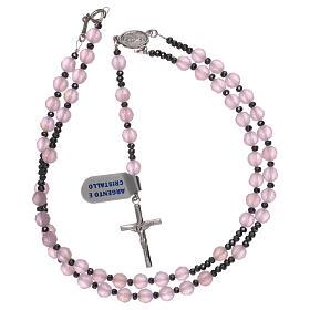 Terço prata 925 e cristal acetinado cor-de-rosa s4