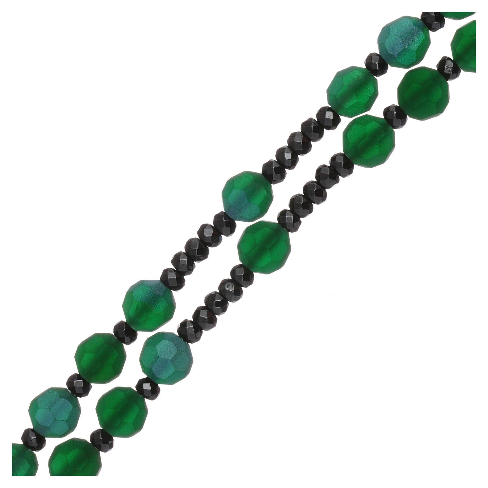 Rosario grani cristallo satinato verdi e argento 925 4