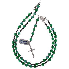 Rosario grani cristallo satinato verdi e argento 925 s4