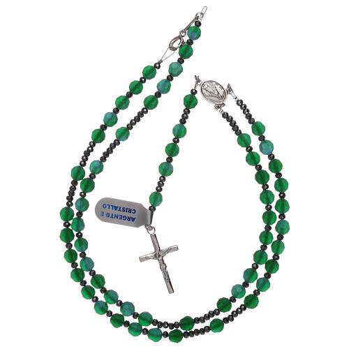Terço contas cristal acetinado verde e prata 925 4