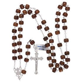 Rosario croce e crociera argento 925 e grani a barilotto in legno s4