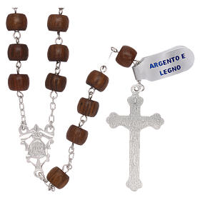 Rosary 925 silver cross and medal and cylindrical wood beads s2