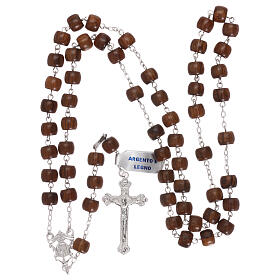 Rosary 925 silver cross and medal and cylindrical wood beads s4