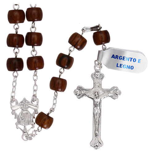 Rosary 925 silver cross and medal and cylindrical wood beads 1