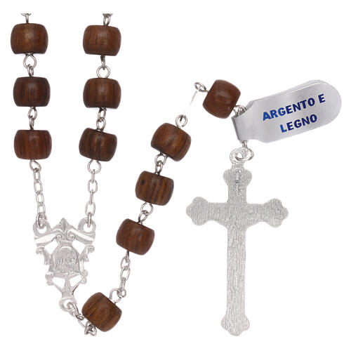 Rosary 925 silver cross and medal and cylindrical wood beads 2