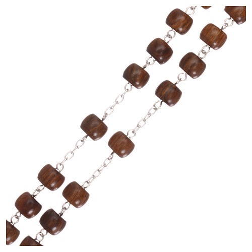 Rosary 925 silver cross and medal and cylindrical wood beads 3