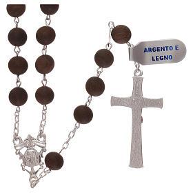 Rosario granos de madera y cruz y cruce de plata 925 s2