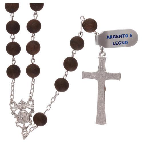Rosario granos de madera y cruz y cruce de plata 925 2