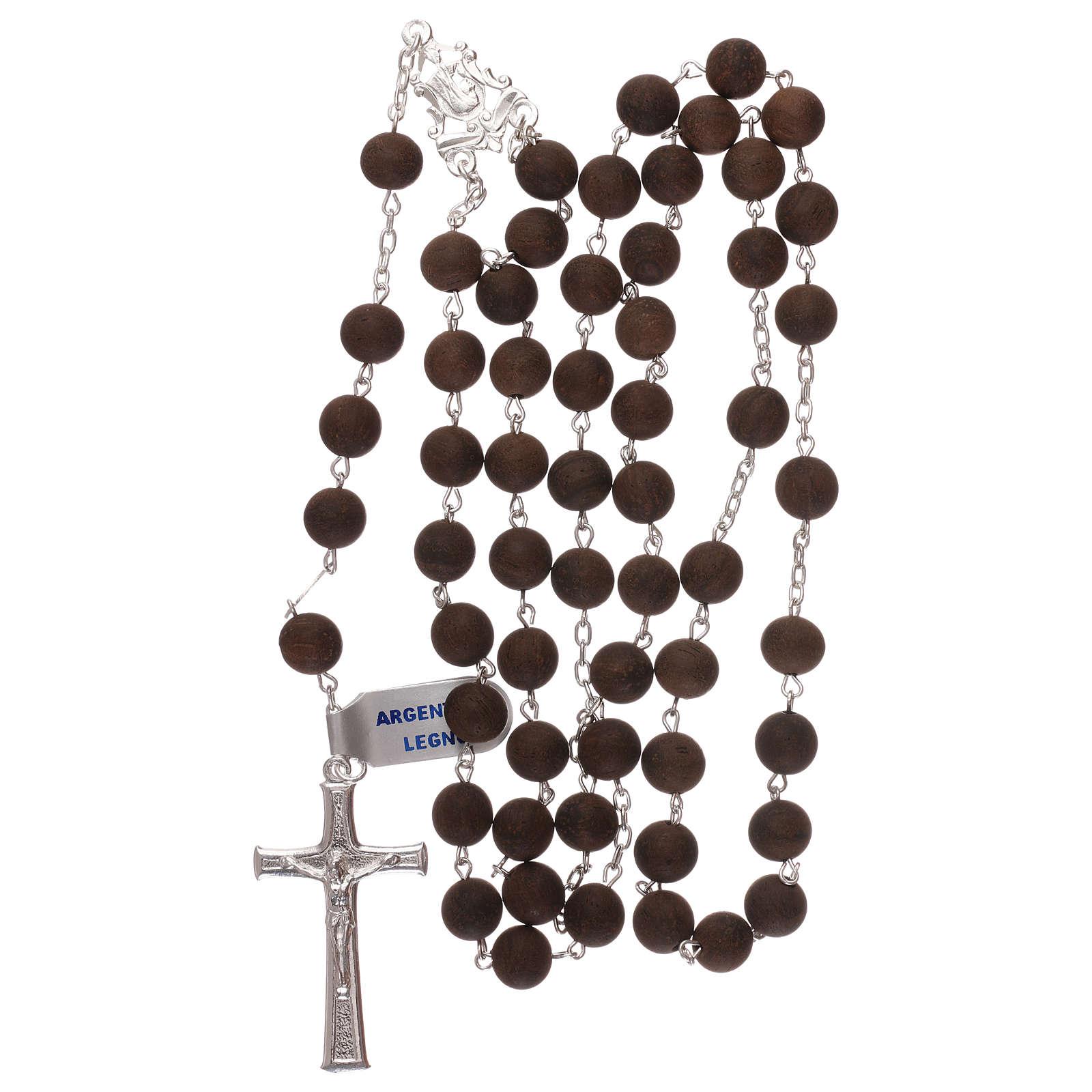 Rosario grani in legno e croce e crociera in argento 925  4