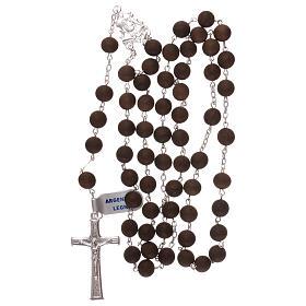 Terço contas em madeira cruz com e passador em prata 925 s4