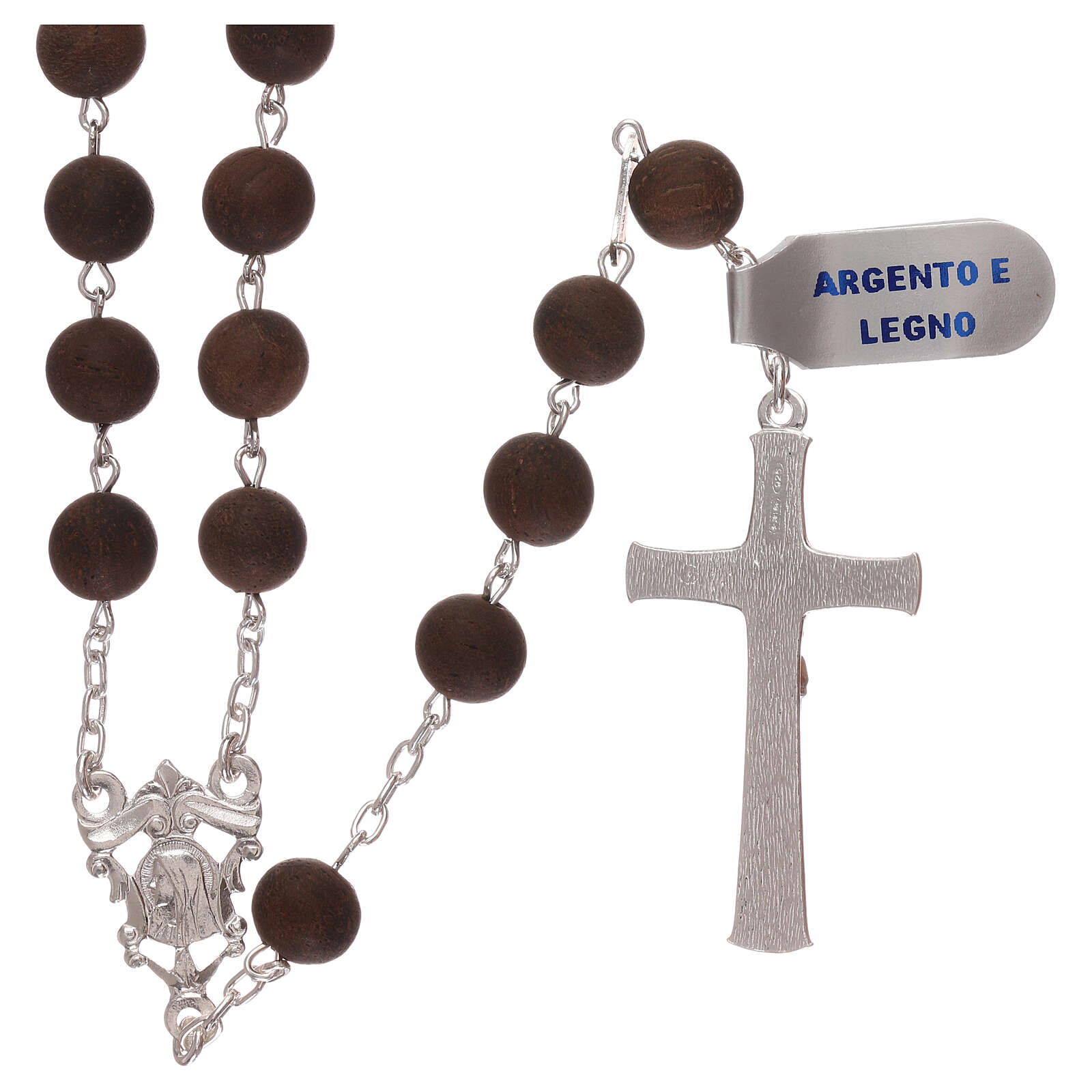 Rosary with wood beads and 925 silver cross and medal 4