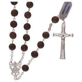 Rosary with wood beads and 925 silver cross and medal s1