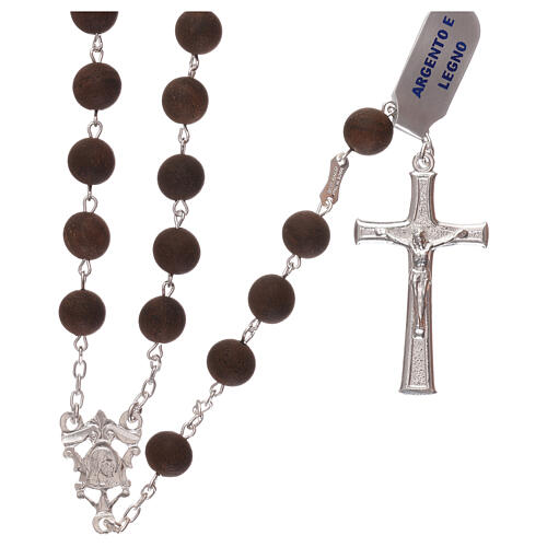 Rosary with wood beads and 925 silver cross and medal 1