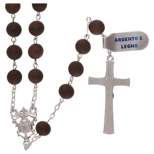 Rosary with wood beads and 925 silver cross and medal 2