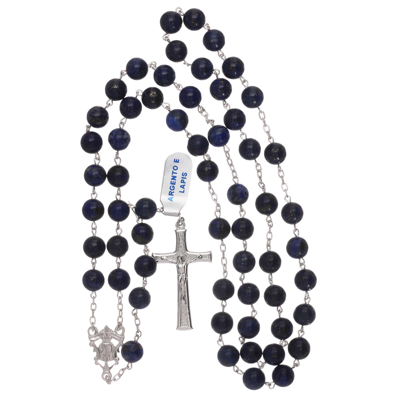 Rosario grani lapis con croce e crociera argento 925 4