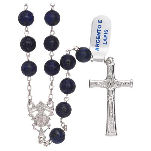Rosario grani lapis con croce e crociera argento 925 1