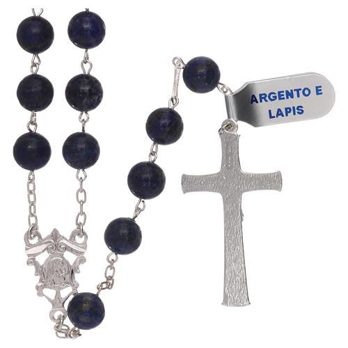 Rosario grani lapis con croce e crociera argento 925 2