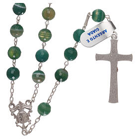 Terço crucifixo e passador prata 925 e contas em jade s2
