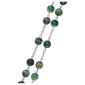 Terço crucifixo e passador prata 925 e contas em jade s3