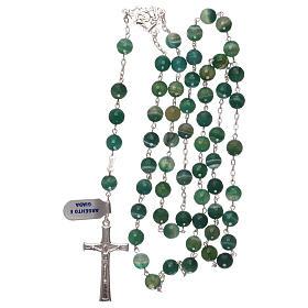 Terço crucifixo e passador prata 925 e contas em jade s4