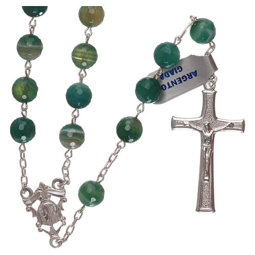Terço crucifixo e passador prata 925 e contas em jade 1