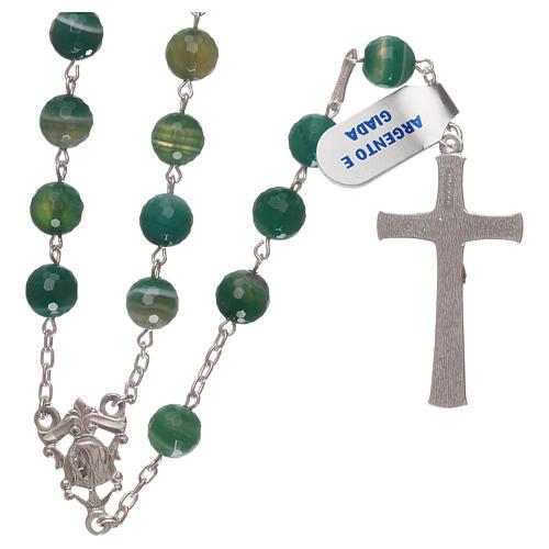 Terço crucifixo e passador prata 925 e contas em jade 2