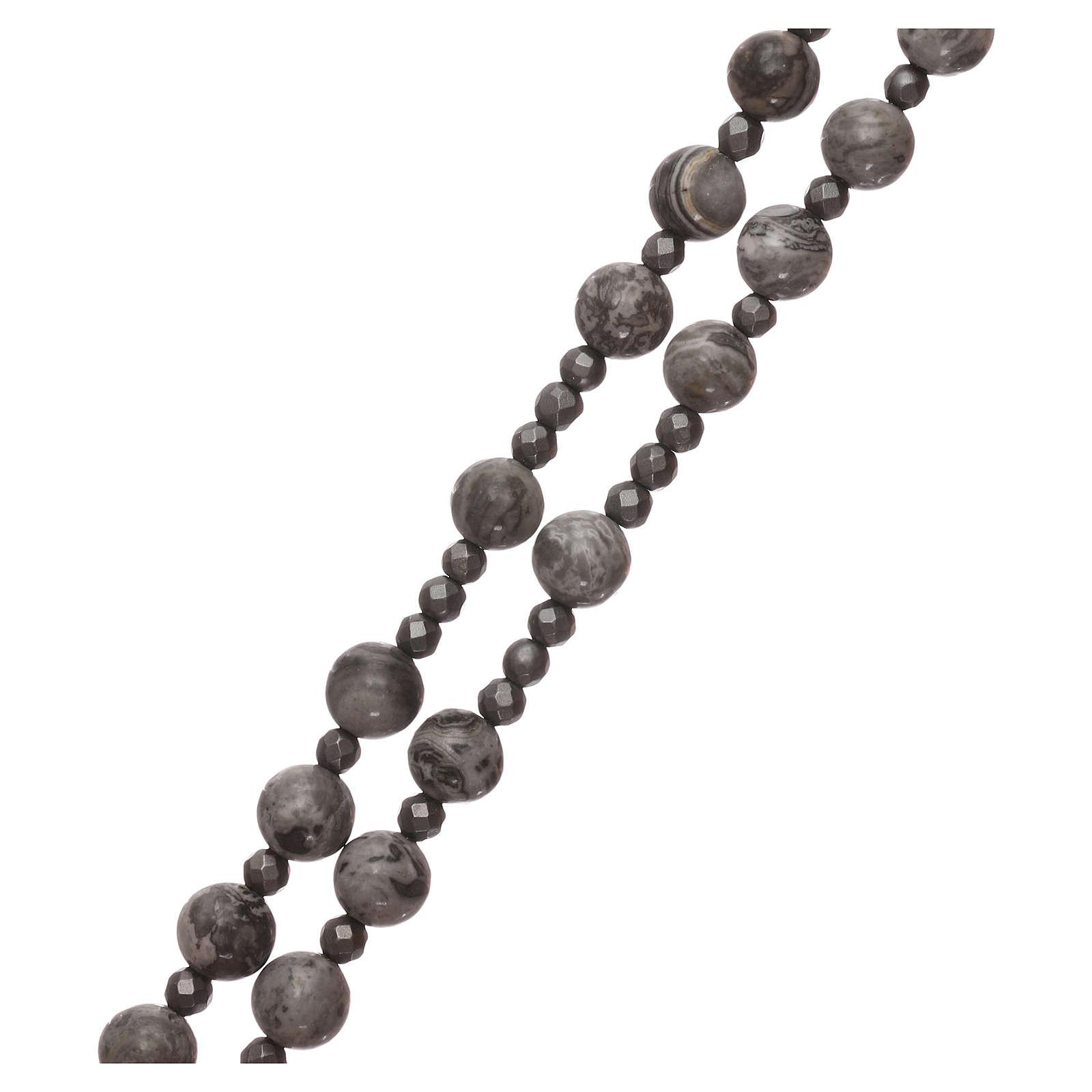 Rosario argento 925 e grani agata messicana con ematite 4