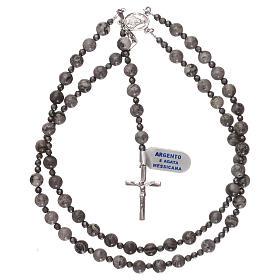 Rosario argento 925 e grani agata messicana con ematite s4