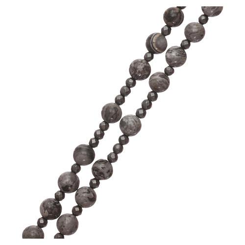 Rosario argento 925 e grani agata messicana con ematite 3