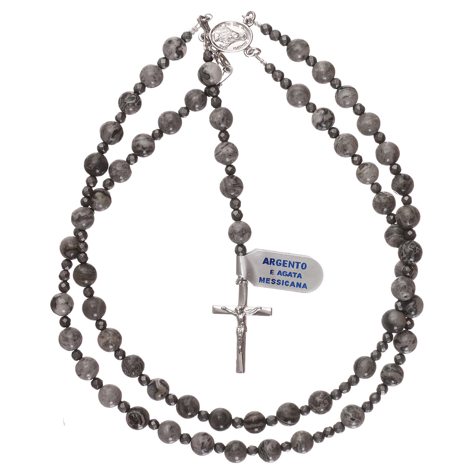 Rosary 925 silver and beads of mexican agate and hematite 4