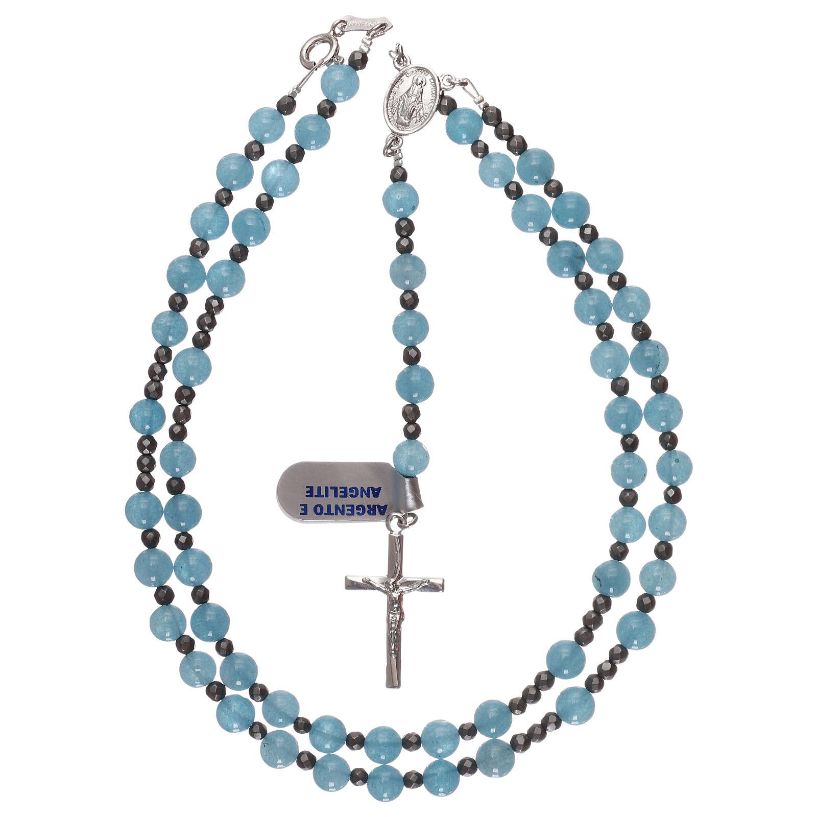 Rosario croce e crociera argento 925 grani in angelite ed ematite 4