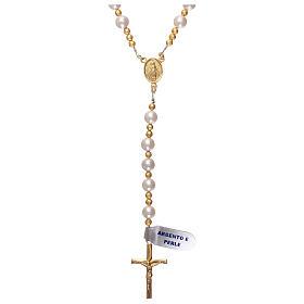 Rosario perle e argento 925 dorato con ematite s1