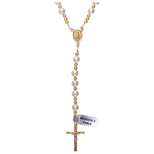 Rosario perle e argento 925 dorato con ematite 1