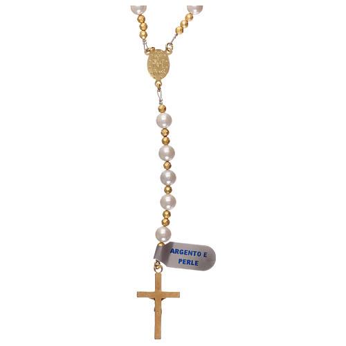 Rosario perle e argento 925 dorato con ematite 2