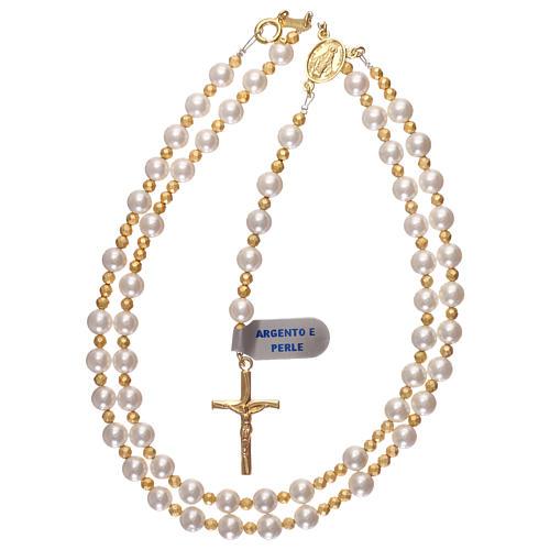 Rosario perle e argento 925 dorato con ematite 4