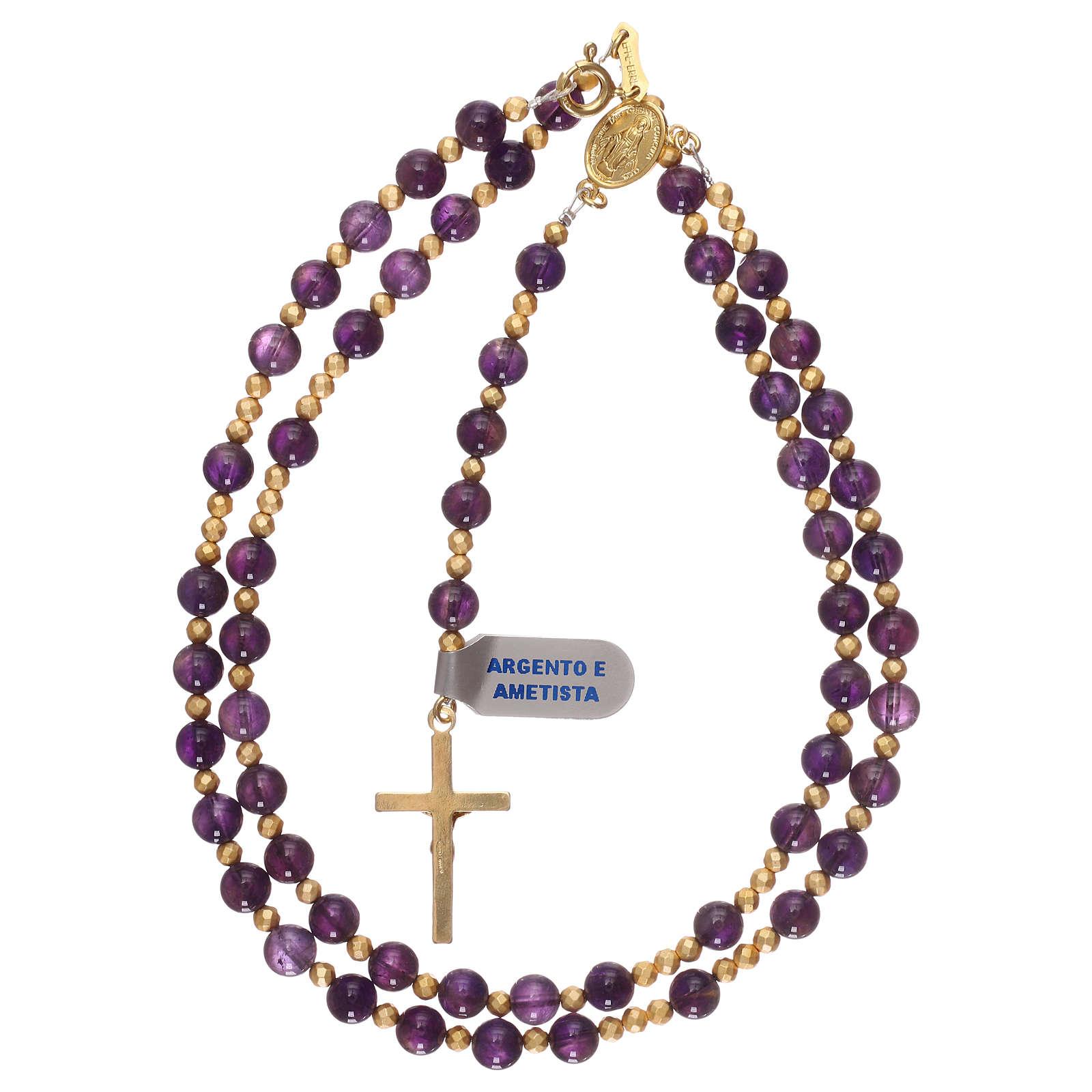 Chapelet améthyste et hématite avec croix et médaille dorées 4