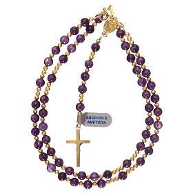 Chapelet améthyste et hématite avec croix et médaille dorées s4