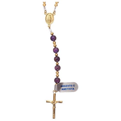 Chapelet améthyste et hématite avec croix et médaille dorées 1